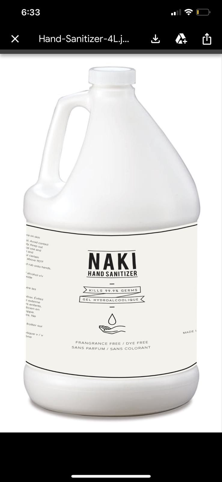 HAND SANITIZER NAKI 1 GALLON BOTTLE npn 80099298